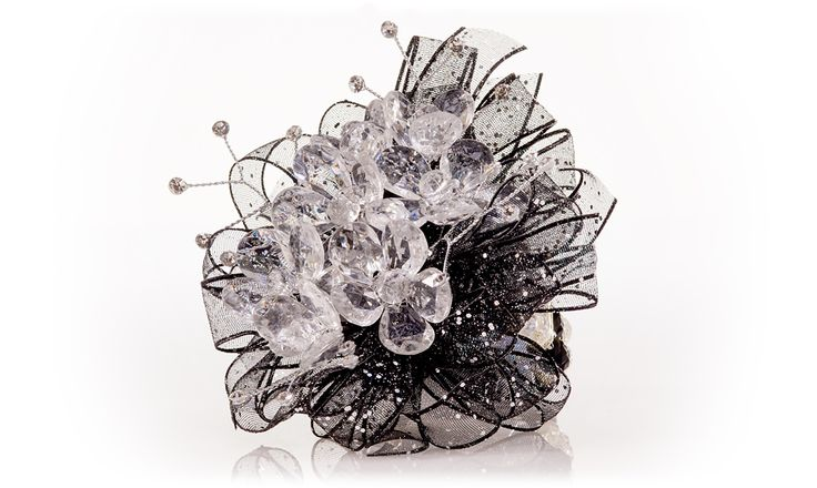 "Crystal Flowers Corsage for Homecoming & Prom | ""Dazzle Her"" with Black Glitter Ribbon"