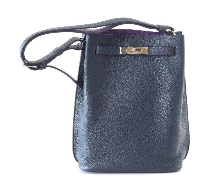 Hermes Rare SO Kelly 22 Eclat Bag Taurillon Clemence in Bleu ...