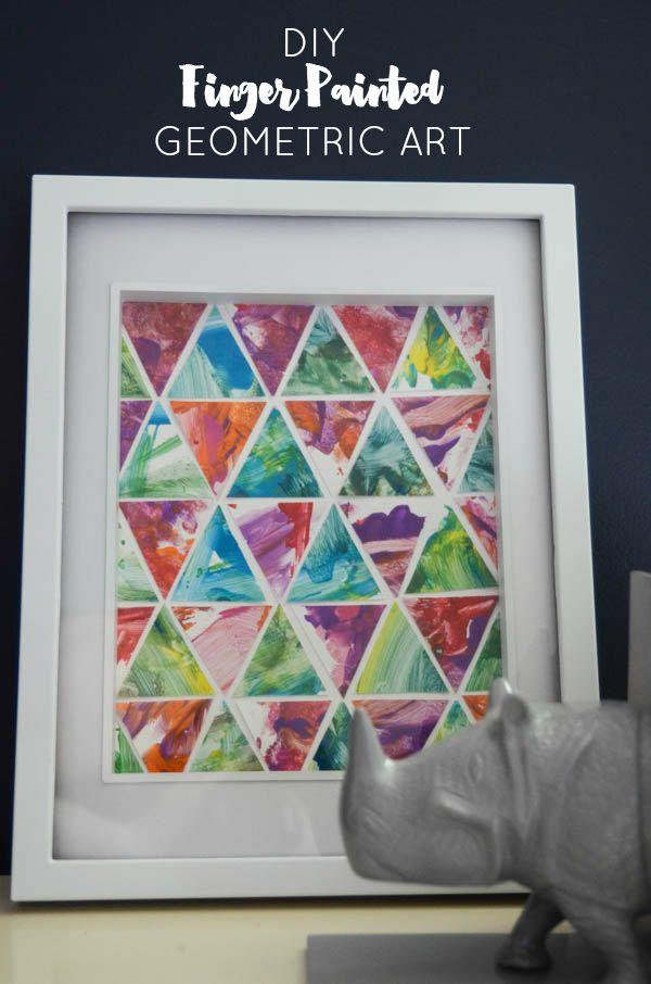 finger paint geometric art diy (via Honest to Nod)