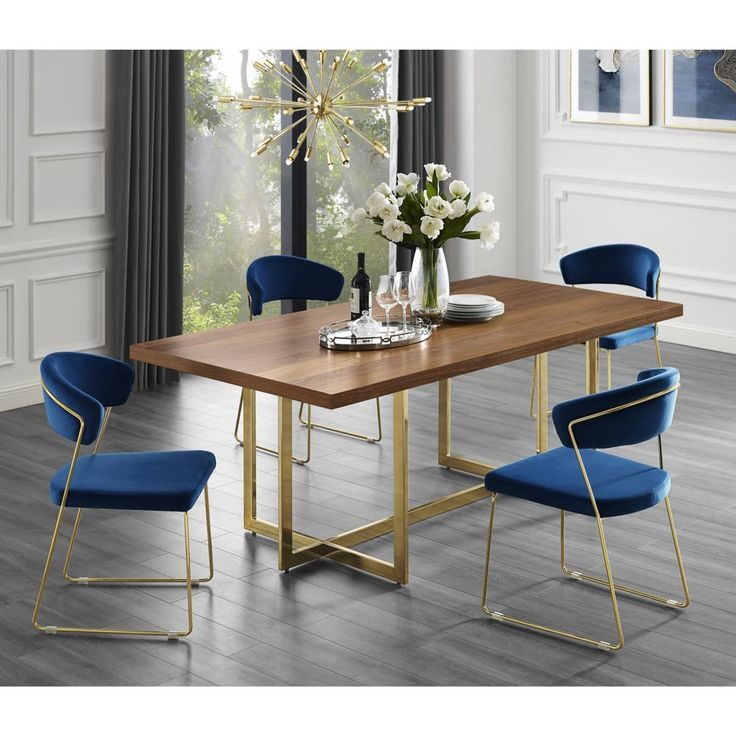 Inspired Home Davian 70 8 In Walnut Wood Veneer Dining Table With Gold Metal Legs Dt122 09wts Hd The Home Depot Dining Table Gold Wood Dining Room Table Dining Table In Kitchen