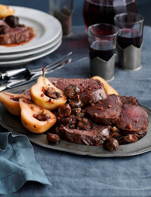 Beef Fillet Recipe With Spiced Pears and Chestnut Pickle Recipe    This recipe for beef fillet with spiced pears and chestnut pickle is easy to make but offers something a little bit different during the colder months. Buy chestnuts ready-peeled for ease.