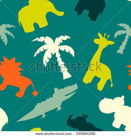 Hand drawn seamless pattern with african animals. Bright kids design.