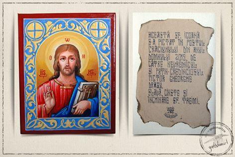 "Icoana ""Pantocrator"" - pictata pe panza in tehnica acrilic, cu ornamente din stucatura executate manual. Pictata de: Gheorghe Dragu"