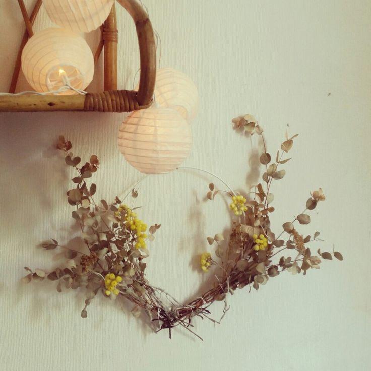 Couronne fleurs eucalyptus et immortel