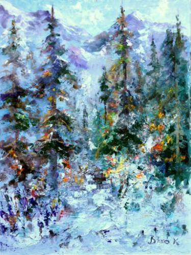 "Saatchi Art Artist Konrad Biro; Painting, ""Winter in the mountains"" #art"