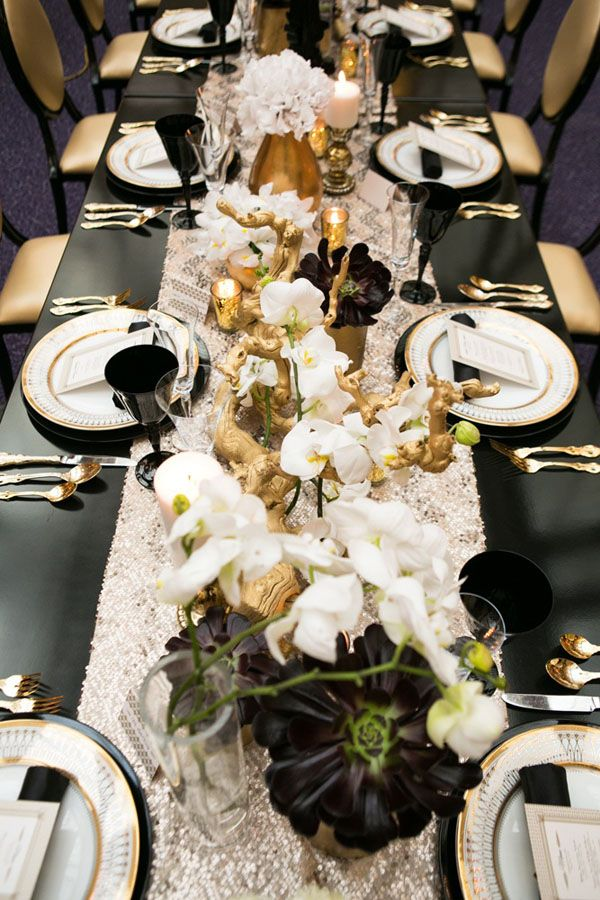 Table plates and silverware: Switch the black out and replace with the matching red/maroon for the color scheme. Keep the gold and white elegant and classy layout.