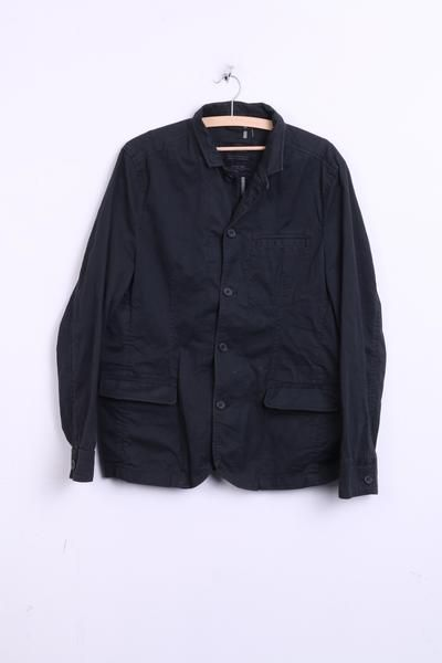Allsaints Spitalfields Mens M Jacket Blazer Cotton Black Single Breasted - RetrospectClothes
