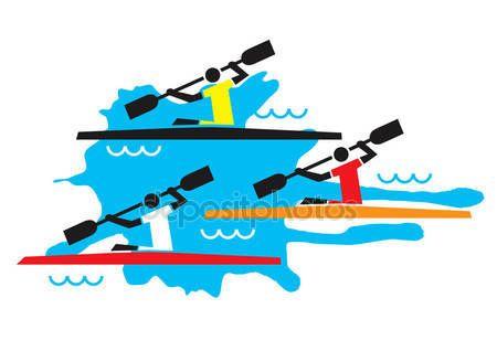 Скачать - Каякинг три конкурентов — стоковая иллюстрация #110015674