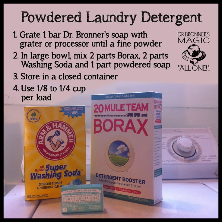 a diy powdered laundry detergent recipe using borax washing soda and a bar of dr bronner 39 s. Black Bedroom Furniture Sets. Home Design Ideas