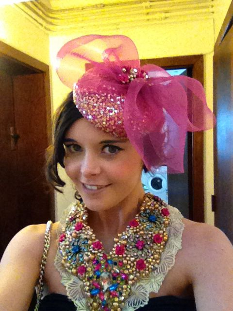 Aisling maher cerise and gold headpiece with hand beaded collar