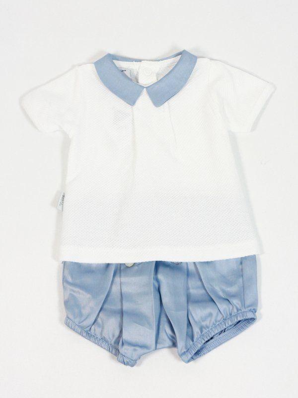 Conjunto de ranita de raso azul y camiseta de algodón con cuello en raso azul.  - Ropa de bebé/ baby clothes - Tienda online www.lesbebes.es                                                                                                                                                      Más