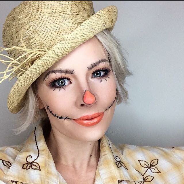 Scarecrow Halloween Makeup by Lisa Marie @makeup artist411 https://www.instagram.com/makeupartist411/ #halloweenmakeup #halloweencostume #halloween #costumeideas #diyhalloween #scarecrow #costume #dorthy