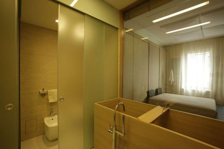 Apartment : Impressive Apartment Design in Saint Petersburg by MK-Interio - Saint Petersburg Apartment Bathroom with Unique Wooden Tub and Shower Area and Huge Glass with Bedroom View medium version