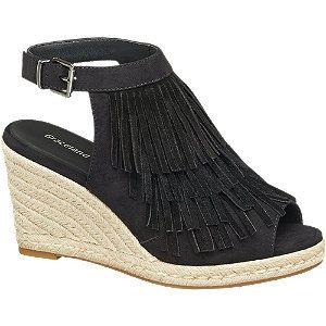 Graceland Keil Sandalette schwarz für Damen - Absatz 9 5 cm Absatztyp Keilabsatz Farbe schwarz Laufsohle TPR Obermaterial Synthetik Leder Innenmaterial Textil Synthetik