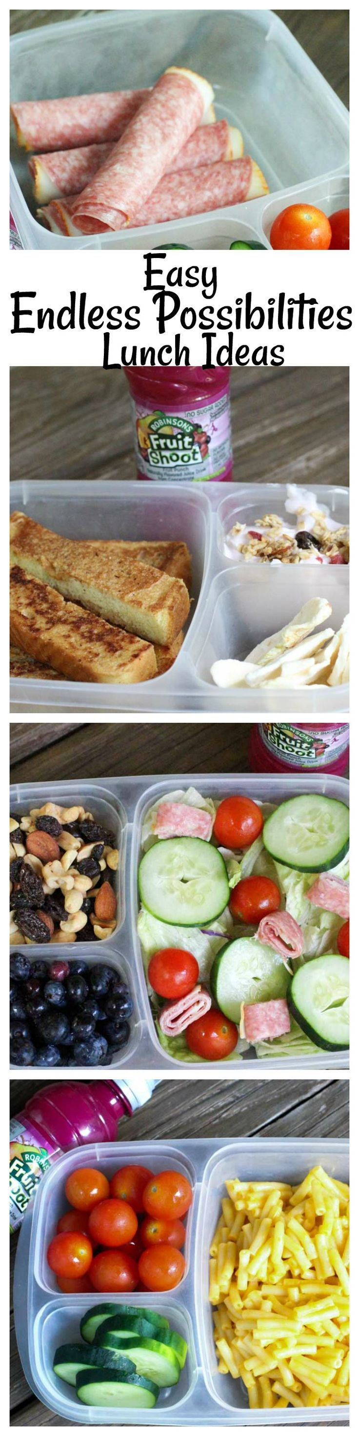 Don't get stuck in the back to school rut! Endless possibility lunch ideas are here to help you! Easy back to school lunches that are tasty and healthy for the kids!