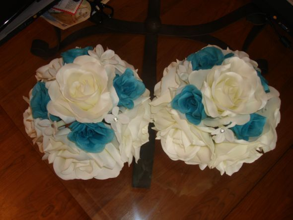 Teal Floating Candles Tan Tuxedo Wedding With Purple Tie