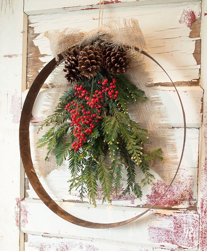 USE A LARGE EMBROIDERY HOOP TO MAKE THIS INSTEAD OF THE METAL HOOP!!!  DIY Wine Barrel Ring Christmas Wreath 2.0