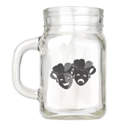 Comedy and Tragedy Theater Jester Masks Mason Jar - decor gifts diy home & living cyo giftidea