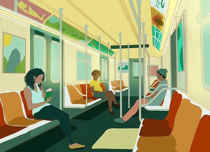 NYC NewYork MTA Transit Subway illustration 배경, 예쁜