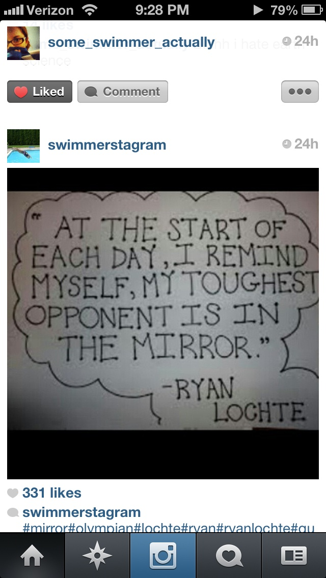 So inspiring I think that every practice and every meet!