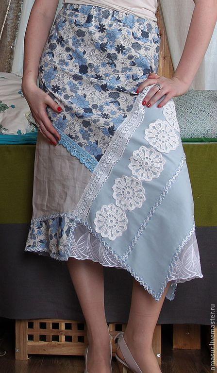 """Распродажа 50% Юбка летняя """" Голубые цветы"""" - голубой,юбка,юбка в пол"""
