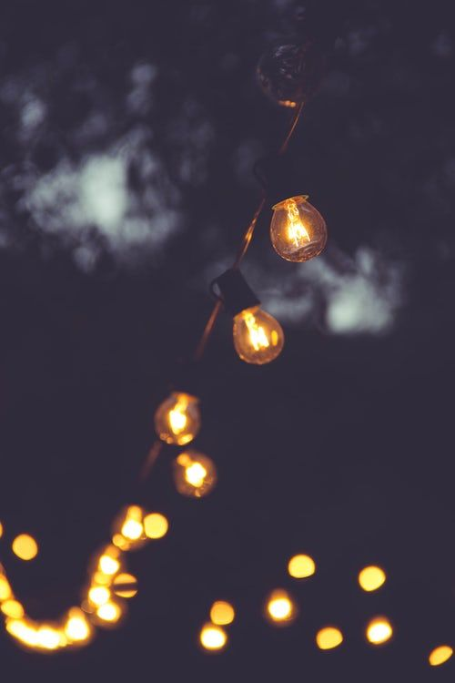 Selective Focus Photo Of Yellow String Lights Landscape Pictures