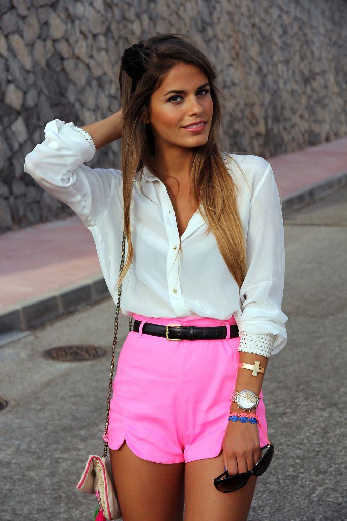neon!: Pink Shorts, Neon Shorts, White Shirts, Summer Outfits, Hot Pink, White Blouses, Highwaist, Neon Pink, High Waist Shorts