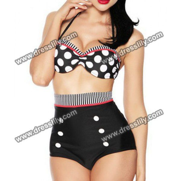 $12.63 High Waisted Polka Dot Double-Breasted Spandex Sexy Halter Women's Swimsuit