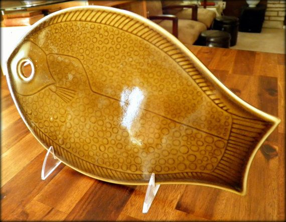 """1964 Arabia Finland """"Kala"""" Fish Trivet/Cutting Board--Designed by Kaarina Aho--Produced 1953-1959 Only--12"""" Long x 7"""" Wide--Great Condition on Etsy, $96.00"""