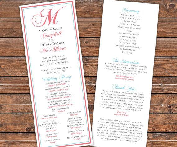 Printable Wedding Program, Monogram Blue Coral Pink Preppy Wedding Program Design, Printable PDF, 3114