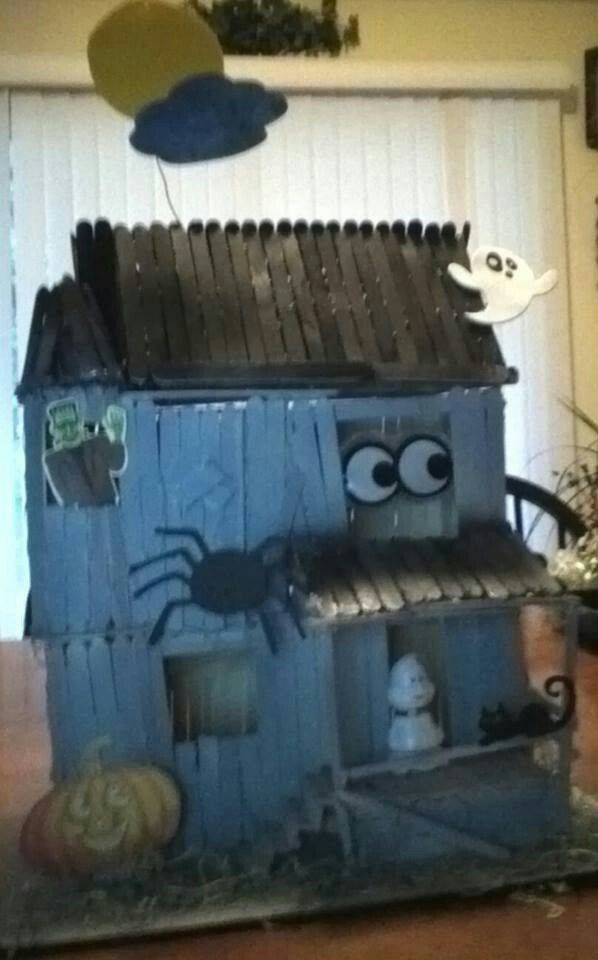 Popsicle Stick Haunted House Halloween Pinterest