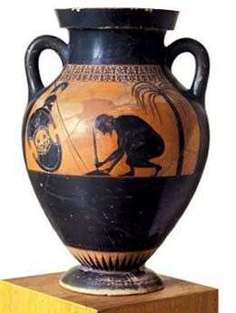 Ajax preparing for his suicide  Attic black-figure amphora Exekias ca. 530 BC Boulogne-sur-Mer, Castle Museum
