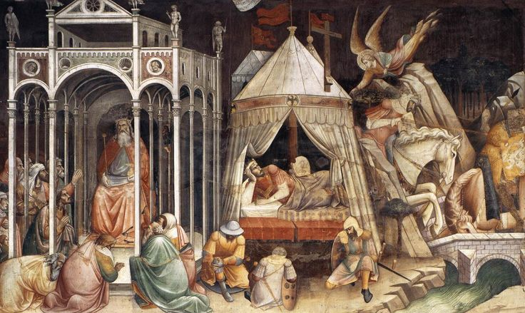 Agnolo Gaddi - Worshiping of Chosroës, Dream of Emperor Heraclius, and Heraclius's Combat with Chosroës's Son, kaple v Sta Croce, 1388-92