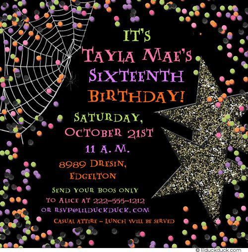 halloween sweet 16 | Confetti Halloween Sweet 16 Invitation - Teen Girl Party