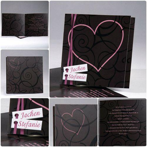 schwarze romantische Hochzeitskarten mit Herzen KP326 von Kartenpalast.