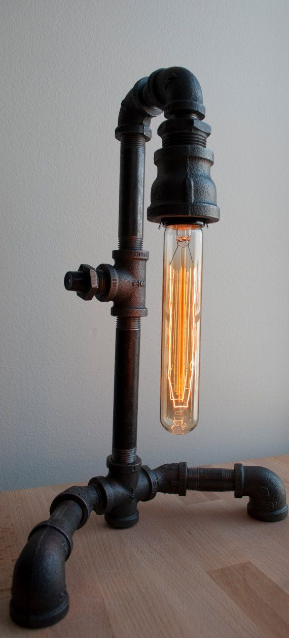 "Industrial Pipe Lamp With Old Fashioned Light Bulb ""The Intellectual"".via Etsy. I NEED THIS NOW!"