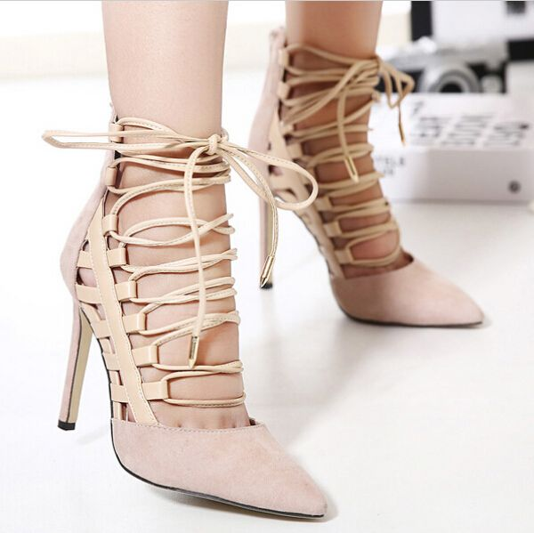 nude heels gladiator sandals women ankle strap heels lace up pumps Pointed Toe high heels shoes pumps women sandals 2016