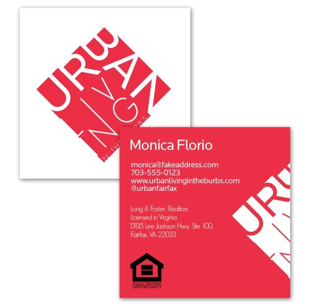 Modern graphic square business cards for real estate agency Urban Living. Designed by www.hmahercreative.com