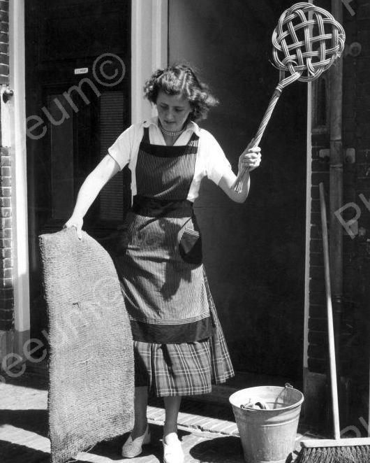 House Wife Beating Dust Out Of Her Carpet Vintage 8x10 Reprint Of Old Photo