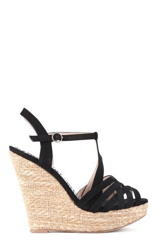 Deb Shops Platform Canvas Wedge Heel with Intertwined Upper and Ankle Strap