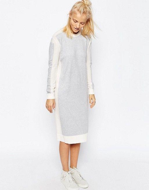 ASOS White | Трикотажное платье миди колор блок ASOS WHITE