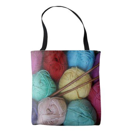 #Balls of Yarn with Wooden Knitting Needles Tote Bag - #knitting #gifts