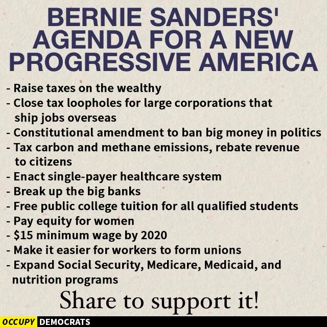 With this list you can counter anybody who spreads the meme that Bernie Sanders is just an extreme left wing populist. It's all progressive content and progressive ideas!