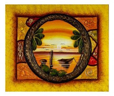 Quadro Taino con Paesaggio: dipinto a mano, circondato da una cornice raffigurante alcuni dei simboli degli antichi indigeni Taino un piccolo paesaggio tropicale all'imbrunire. Tecinca acrilico su tela. Già montato su telaio in legno.  http://www.solohechoamano.it/store/quadri/quadri-caraibi-rep-dominicana-haiti/quadro-taino-137.html