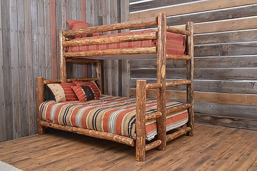Log TwinXL/Queen Glacier Bunkbed - Enjoy the handcrafted log bunk bed. The standing dead Lodge pole pine trees are harvested and peeled by hand. Perfect addition to your Mountain home. Made in the Rockies Mountains. Rustic bedroom, Cabin bedroom, Rustic décor, Rustic home decor, Rustic home, Mountain home, Bunkbed, Southwestern decorating, Southwest décor, Cabin décor, Luxury cabin, Cabin furniture, Cabin furniture bedroom, Log cabin homes, Log cabin decor #LuxuryBeddingCabin #logcabinhomes