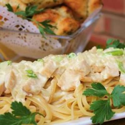 Creamy Chicken on Linguine: Dinners Tonight, Linguine Recipe, Mail, Onions, Food And Drinks, Rotisserie Chicken, Cooking, Chicken Linguine, Creamy Chicken