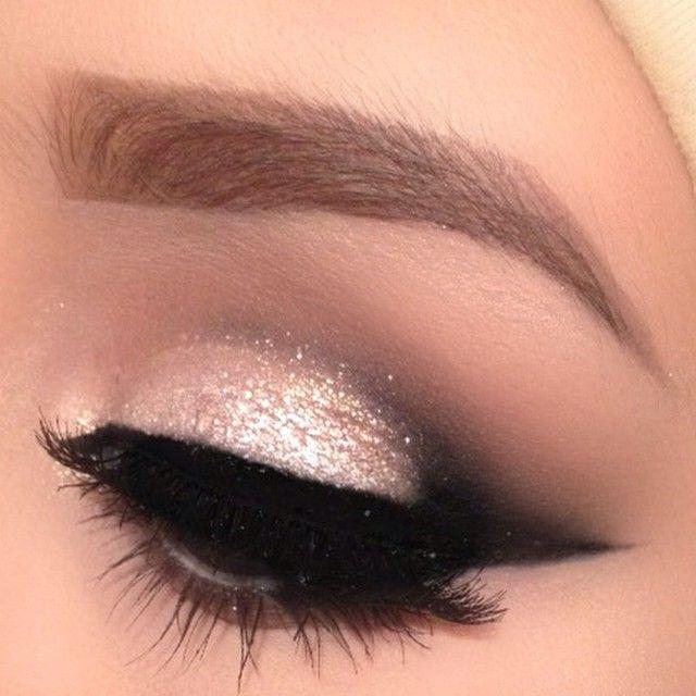 White gold glitter with smoked out pointed crease #eyes #eye #makeup #eyeshadow #dark #smokey #dramatic