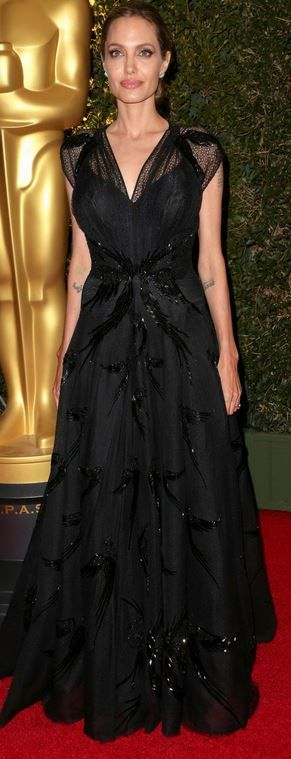 Angelina Jolie's beaded mesh gown that she wore to the Governors Awards in Hollywood on November 16, 2013: Atelier Versace