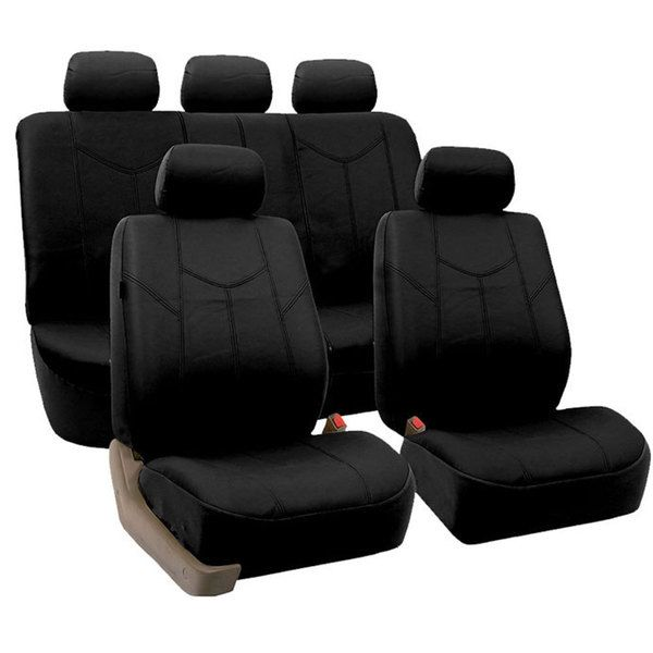 FH Group Black Airbag Compatible PU Leather Seat Covers Full Set