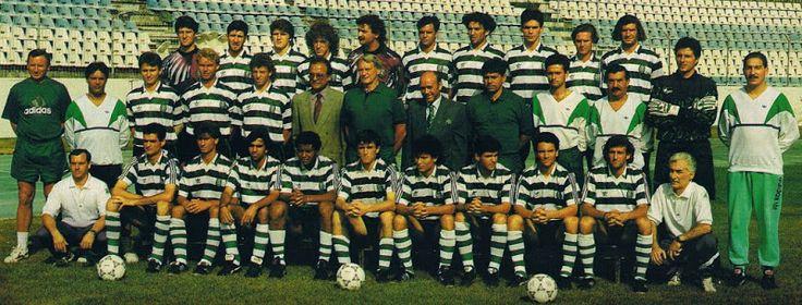 SPORTING 1992-93 Can you spot Luis Figo, Ivkovic, Balkov, Jose Mourinho, Bobby Robson, Cadete, Valckx, Manuel Fernandes, Sousa Cintra, Peixe, Iordanov, Filipe? any others?